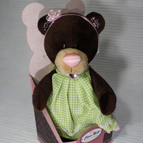 Медвежонок в платье цвета мяты 25 см